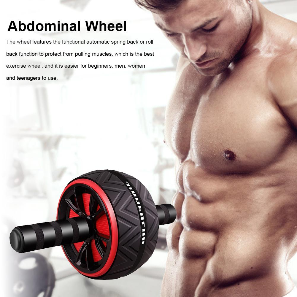 Ab Roller Übung Ab Wheel Muskel-Fitness-Geräte Fitness Zubehör Trainings Doublewheel Gerät Preßwalze Bauchmuskeln Gym Equipm