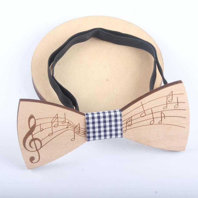 Moda Ahşap Papyon Gentleman Bow Boyun Seti Tiess El yapımı Müzik Desen Kravat Parti Bow Kravatlar Kelebek Man Ahşap Benzersiz Tie
