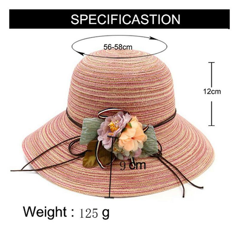 Hot Womens Aba larga chapéus de sol Summer Flowers Decorado Stripped Beach Sun Bloco chapéu de palha de disquete Hats Caps chapéus, lenços luvas elegante