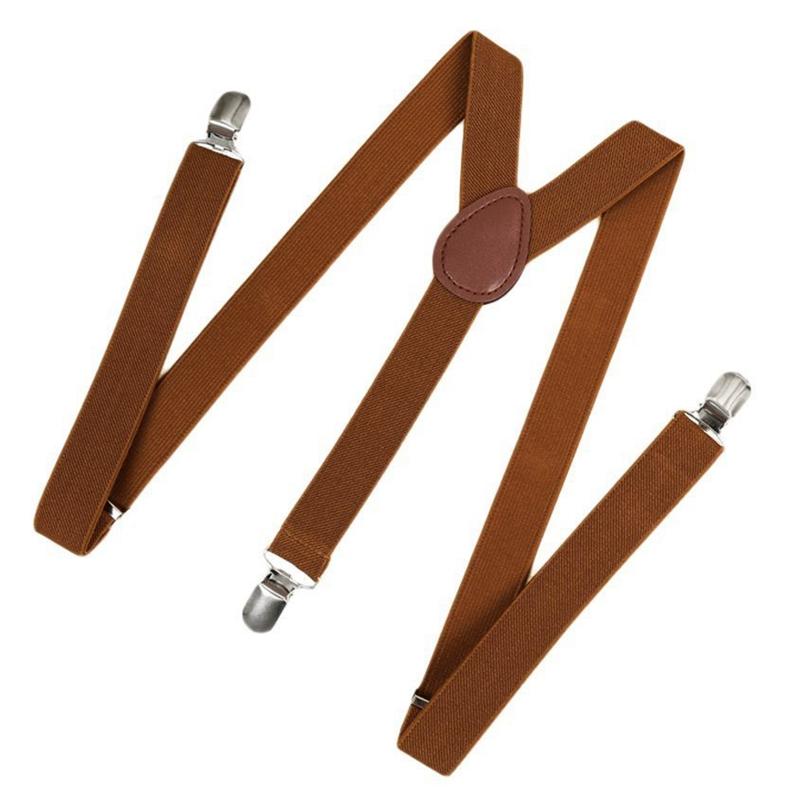 Unisex Bretelle clip Cinture Accessori a bretella elastica YShape Torna formali regolabile Bretelle Brown unisex Bretelle clip Cinture Ac