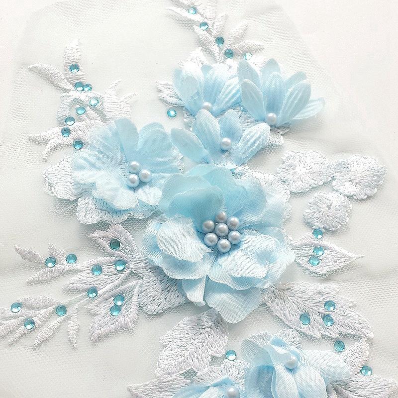 2 pièces perlée Hot Gants Mitaines Bonnets, Gants Foulards Drilling dentelle de mariée en perles Fleurs Patches broderie pour les vêtements de mariage Diy décembre