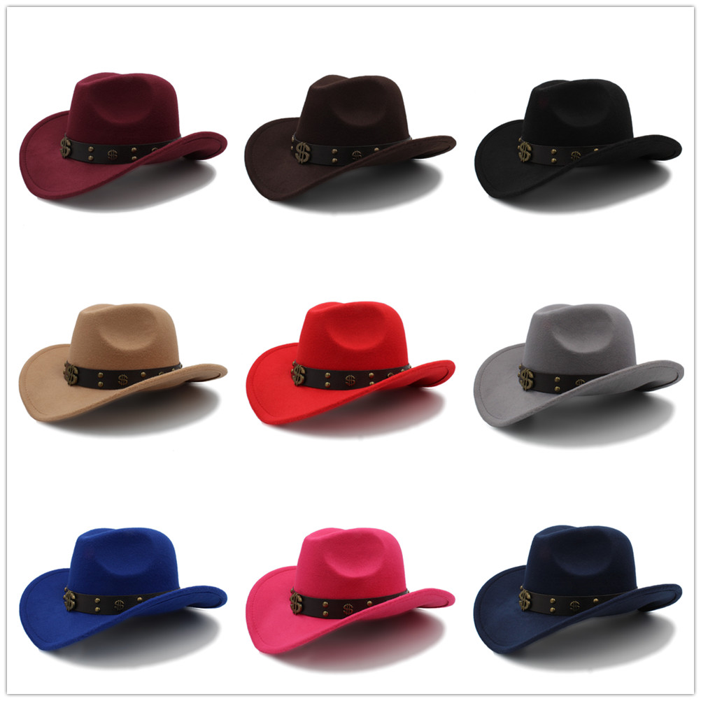 Women Wool Hollow Western Cowboy Hat R Church Jazz Cappello Uomo Sombrero Hombre Montana Cap Size 5658cm Hats & Caps Hats, Scarves & Gloves