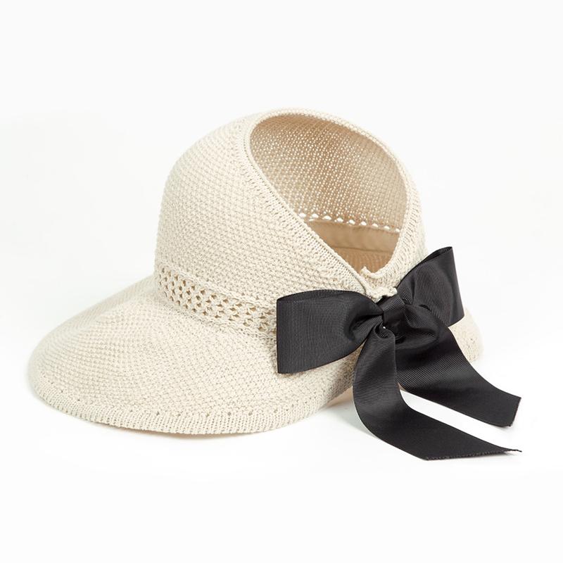 Mode Bow-Hüte Kappen Mützen, Schals Handschuhe Hüte Frauen Pferdeschwanz Sun Cap Band gestrickte Raffiabasthut für Frauen Uv Schutzkappen weiblich