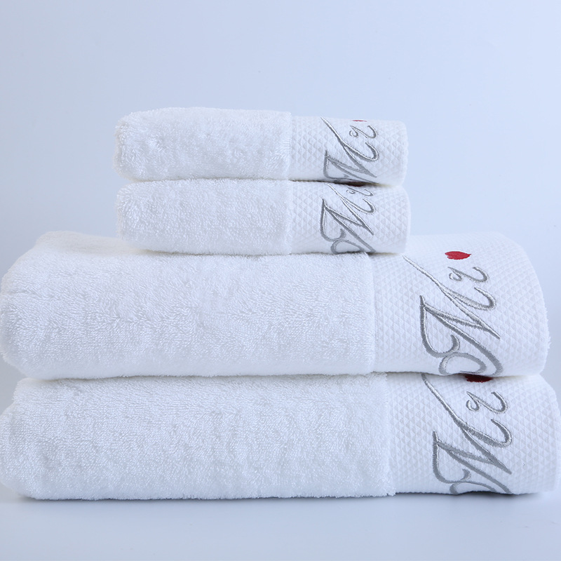 3piece Set 100 Cotton White Hotel Bath High Quality Adult Towel Gym Absorbent Towel Custom Embroidered Logo Cleaning Supplies Housekeeping &