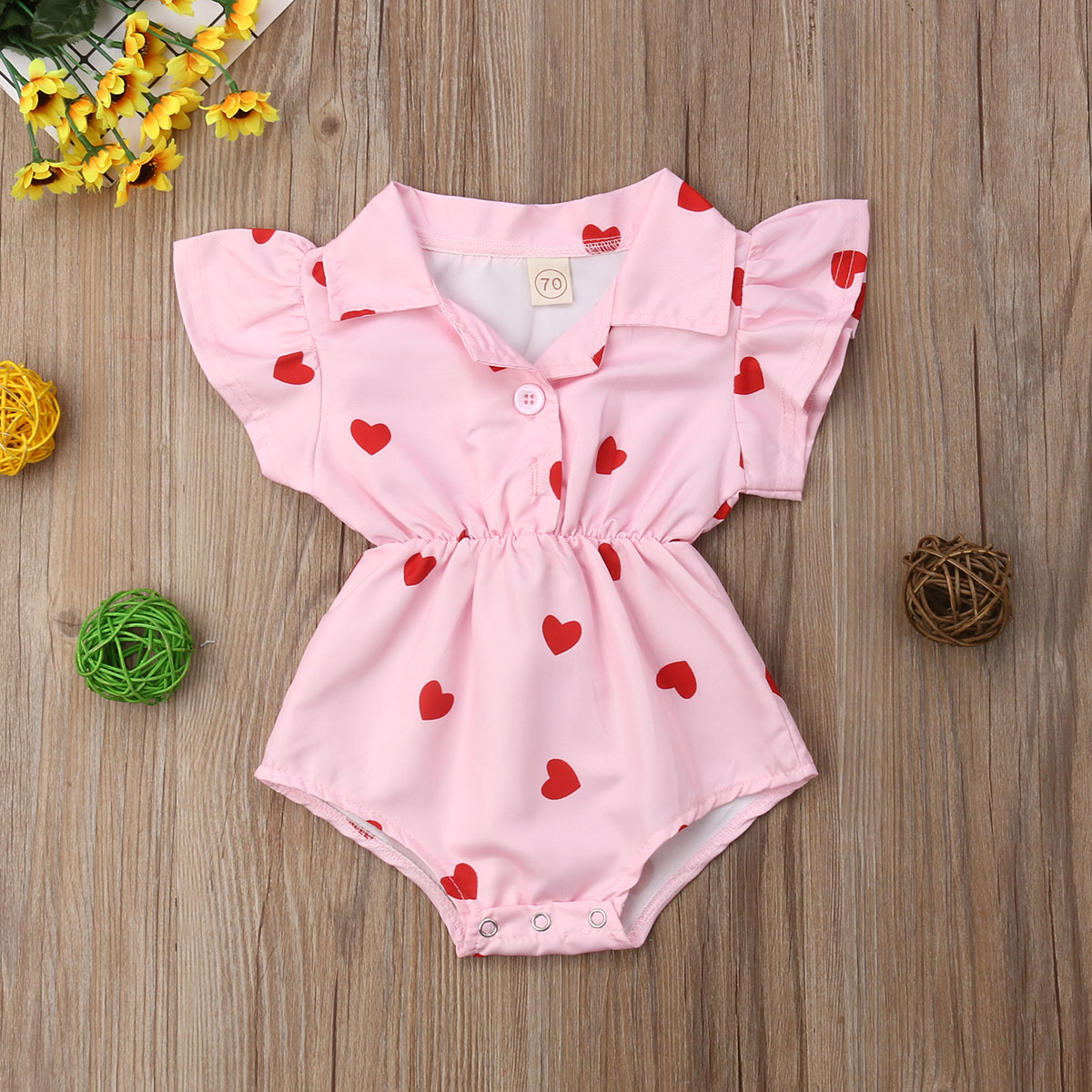 Summer Infant Newborn Clothing Leopard Jumpsuits&Rompers & Kids Clothing Heart Ruffles Baby Girls Rompers Valentine's Day Clothes For Baby G