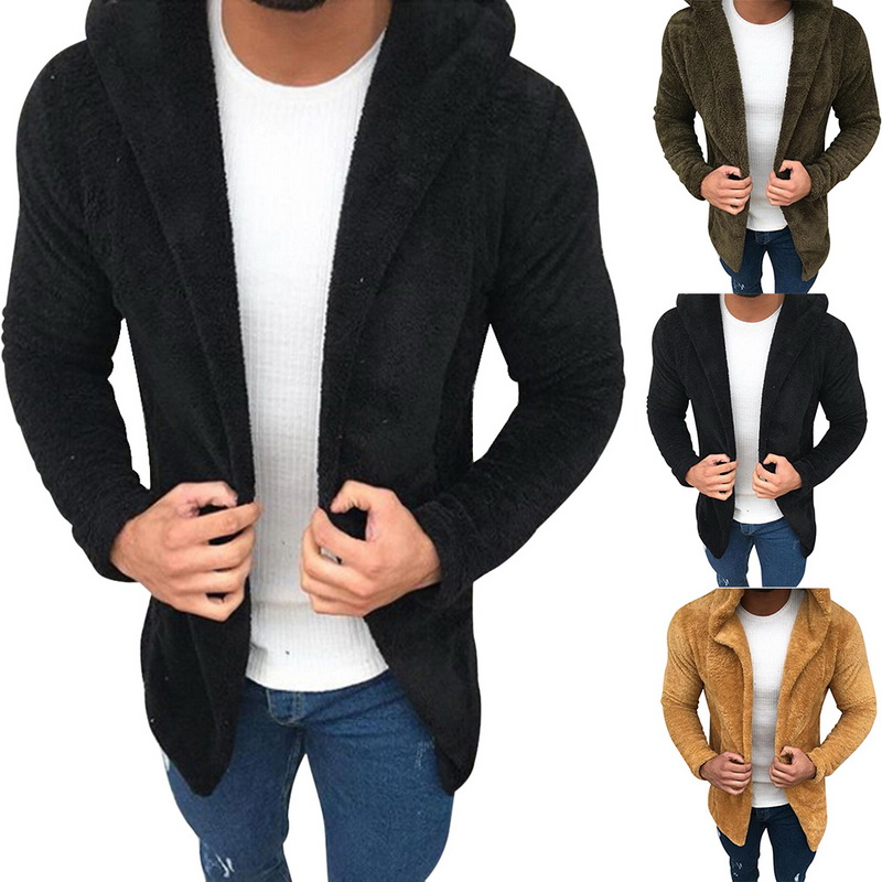 Mens Thick Hooded Jackets Coats Clothes Cardigan's Sweaters Men's Clothing Fashion Fur Hat Cotton Solid Color Jacket Men Causual Outerwear O