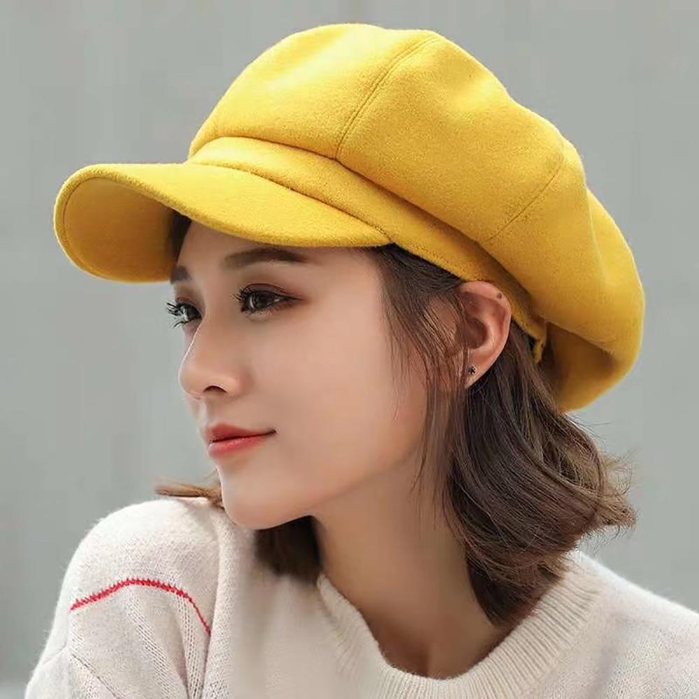 Sekizgen Şapka Kız İngiliz Stil Kadınlar Boş Şapkalar Caps Şapka, Atkı Eldiven Cap Sekizgen Şapka Kız İngiliz Stil Kadınlar Boş Peaked