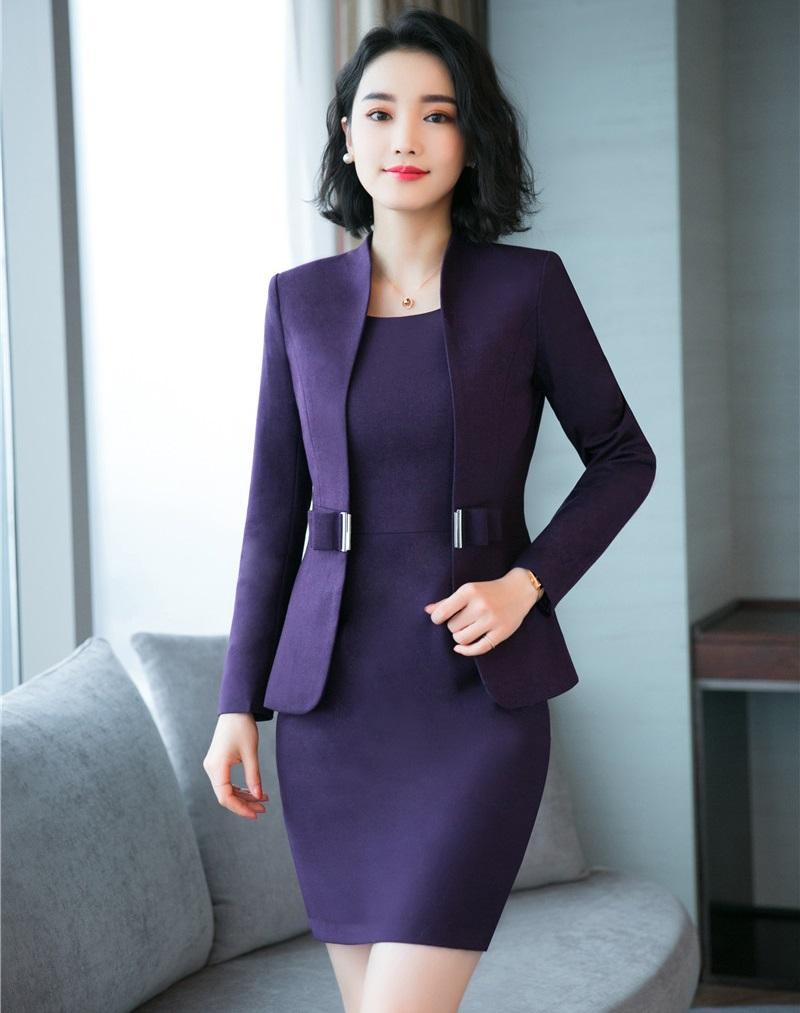 Ofis Lady Business İş Kadın Takımları Blazers Kadın Giyim Kadın Elbise Suits Bayan 2 Adet Elbise ve Blazer Ceket Takımı Kadın Suit F