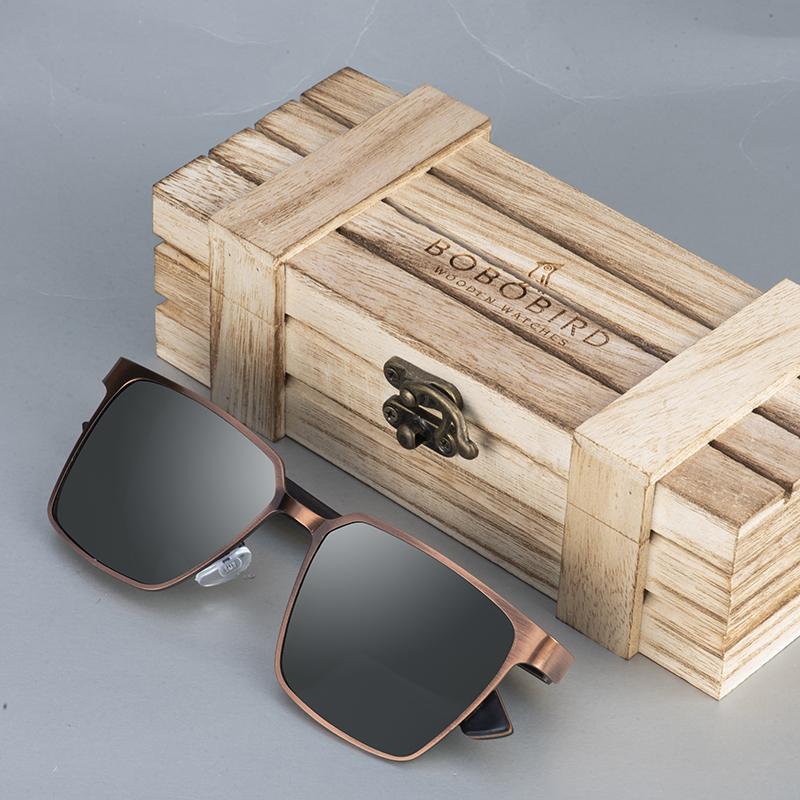 BOBO BIRD Wooden Stain Sunglassesless Steel Sunglasses Women Polarized Sun Glasses Men UV400 in Wooden Box gafas de sol mujer Great Gifts