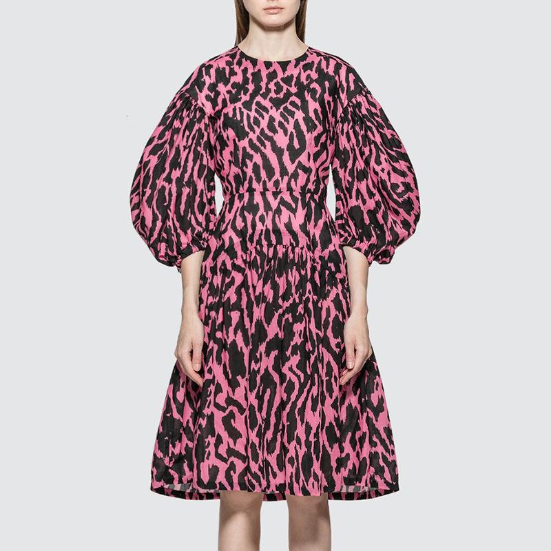 Neue Frauen Sturz runde Kragen hubble Blase Hülse falbala Leopard collect Taille Hülsenkleid in weiblichen drucken