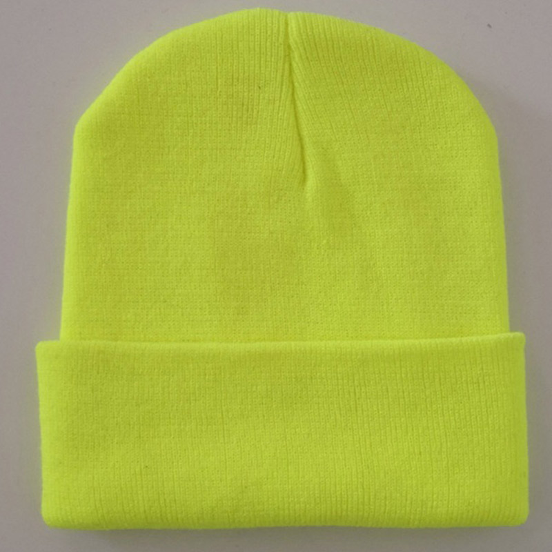 Bright Solid Acrylic Knitted Hats Women Mens Winter Plain Beanies Cap Orange Brown Hats & Caps Hats, Scarves & Gloves Black Neon Yellow Neon