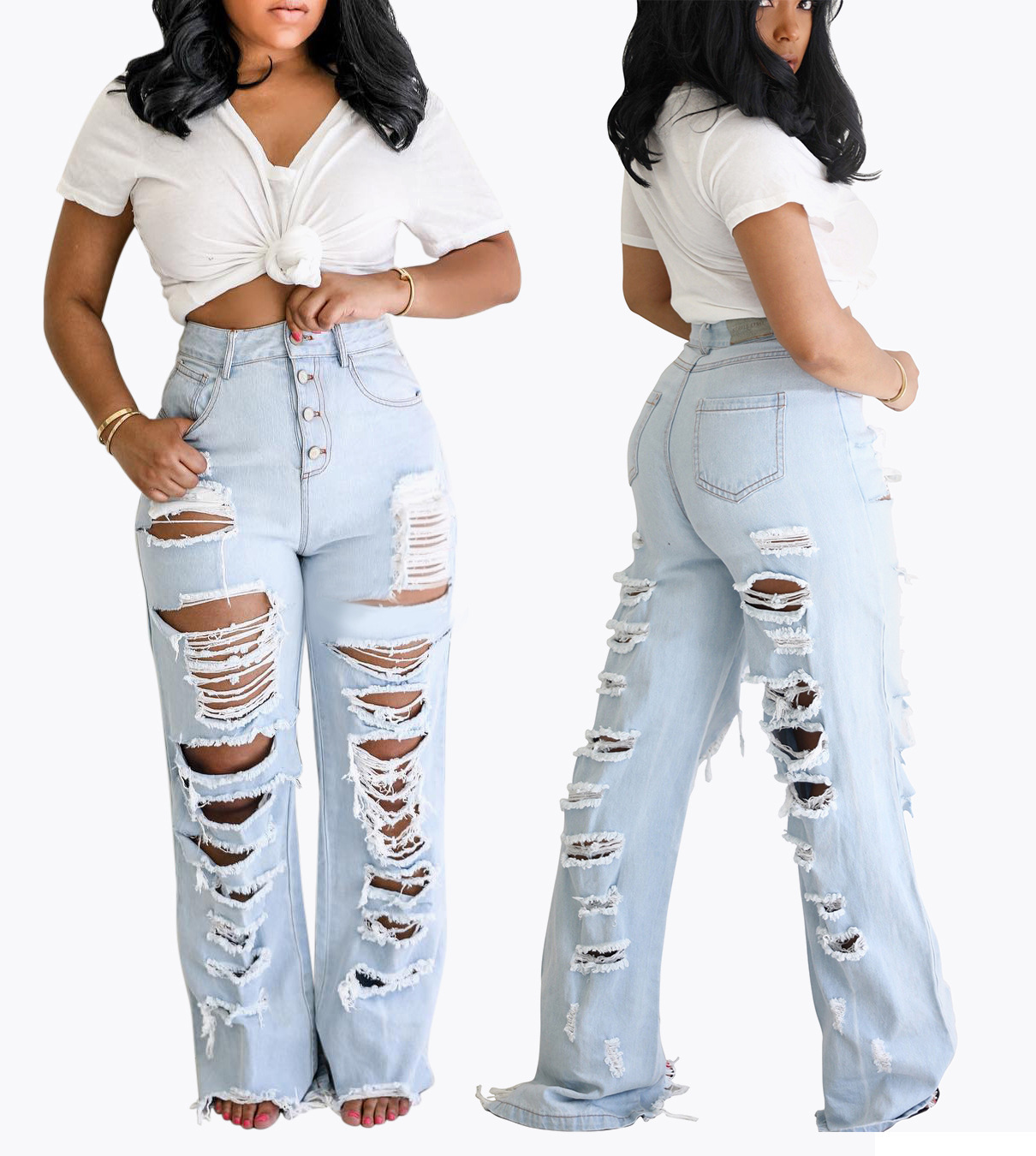 2020 New Women's Jeans Women's Clothing Style Jeans 2037 Personality Front And Back With Holes Beggar Version Trousers Fringed Straight Tro