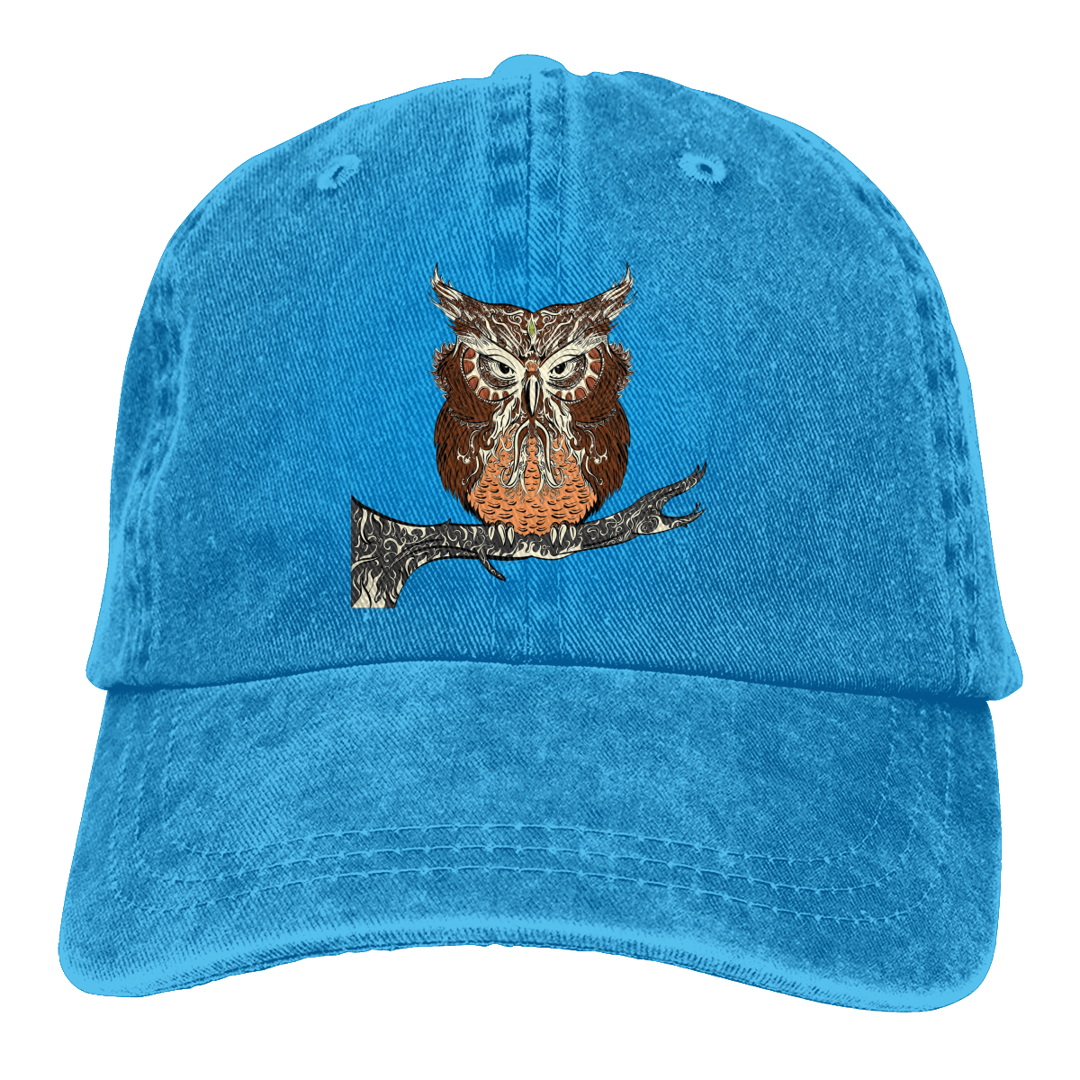 Adult Unisex Cowboy Cap Adjustable Hat Red Owl Eyes Cotton Denim
