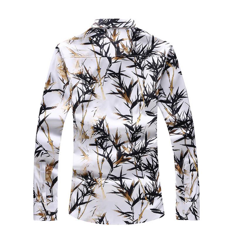 Camisas do outono New Men Casual camisa Manga comprida de bambu Impresso Masculino social elegante vestido de camisa de Men Vestuário Plus Size 5XL Homens Clothi Femininos