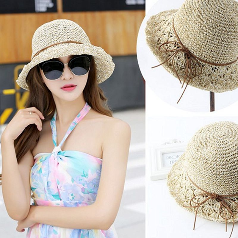 Sun Hat Hats & Caps Hats, Scarves & Gloves Bucket Girls Lady Beach Straw Hat Summer Sun Protection Packable Foldable Cap BowKnot String Trav