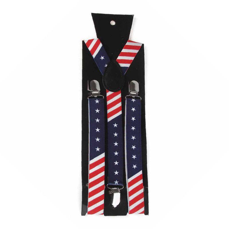 Unisex Amerikalı ABD Bayrağı YBack Suspenders Kayışlar Aksesuarlar Askı PreTied Bow Tie Seti Yıldız Çizgili Baskı