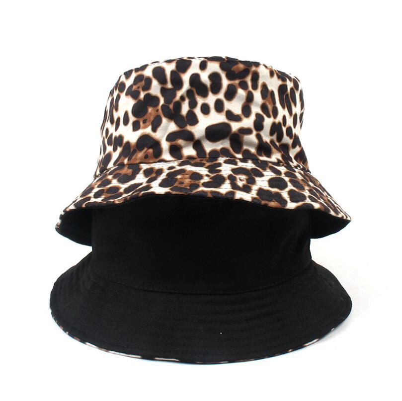 남성 여성 섹시한 어부 파나마 밥 모자 여름 가을 패션 2019 두 측면 모자 캡 모자, 스카프, 장갑 가역 레오파드 버킷