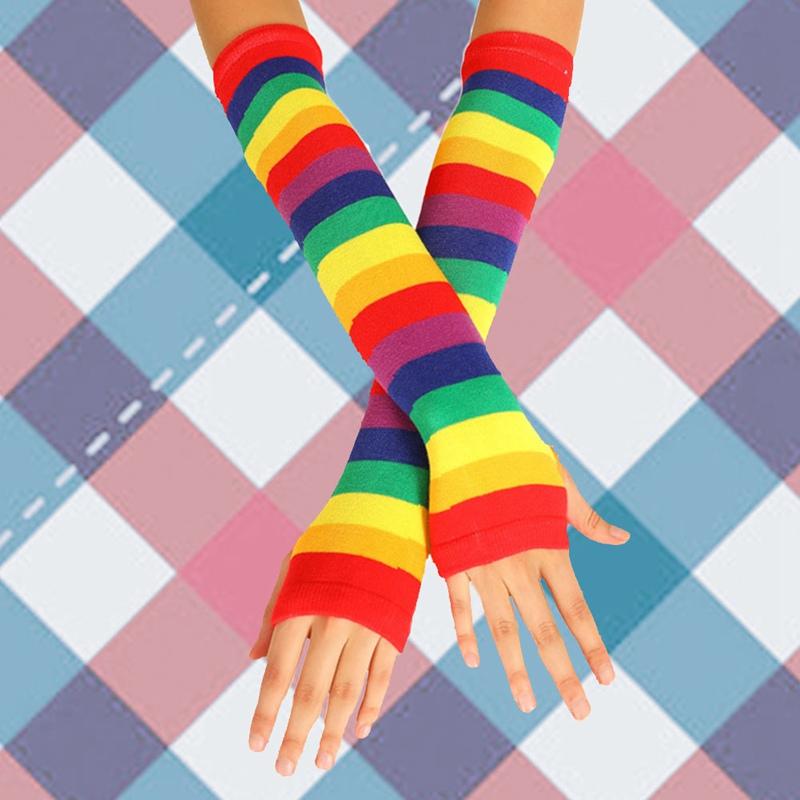 Kadınlar Seksi Sonbahar Kış Uzun Eldivenler Şapka Isınma, eşarplar Eldiven Kol Parmaksız Güneş kremi Kol Eldiven Gökkuşağı anime Çoraplar Çoraplar Bea