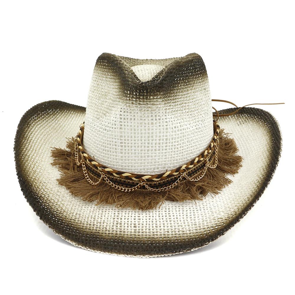 Yaz handmake Raffia Şapka Halat Kadınlar Batı Geniş Curling Brim Cap Güneş Protectio ile Caps Şapka, Atkı Eldiven Erkekler Batı Kovboy Şapkası