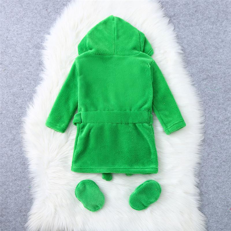 Kinder Cartoon Frosch Bademantel Bademantel Home-Service-Set Infant Flanell Bademäntel Hoodie Nachtwäsche Outfits für Baby-Pyjamas Baby Kids Clothin