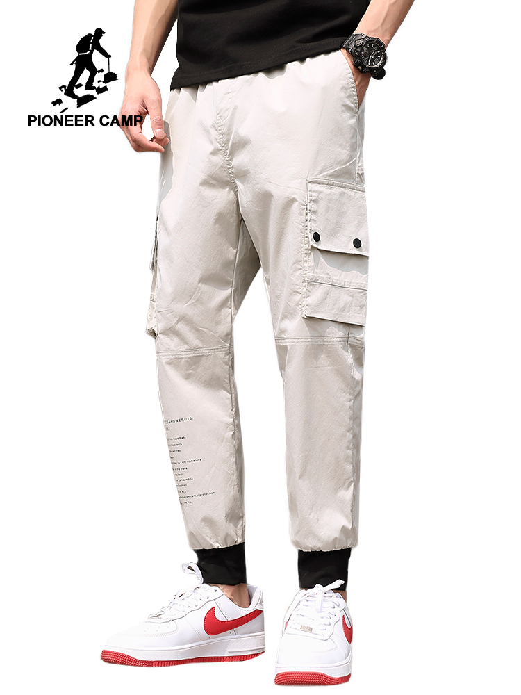 Pioneer Camp Ankle Banded Mens Printed 2019 High Quality Mens Cargo Pants Casual Patchwork Trousers for Men AXX908127 Men's Pants Men's Clot