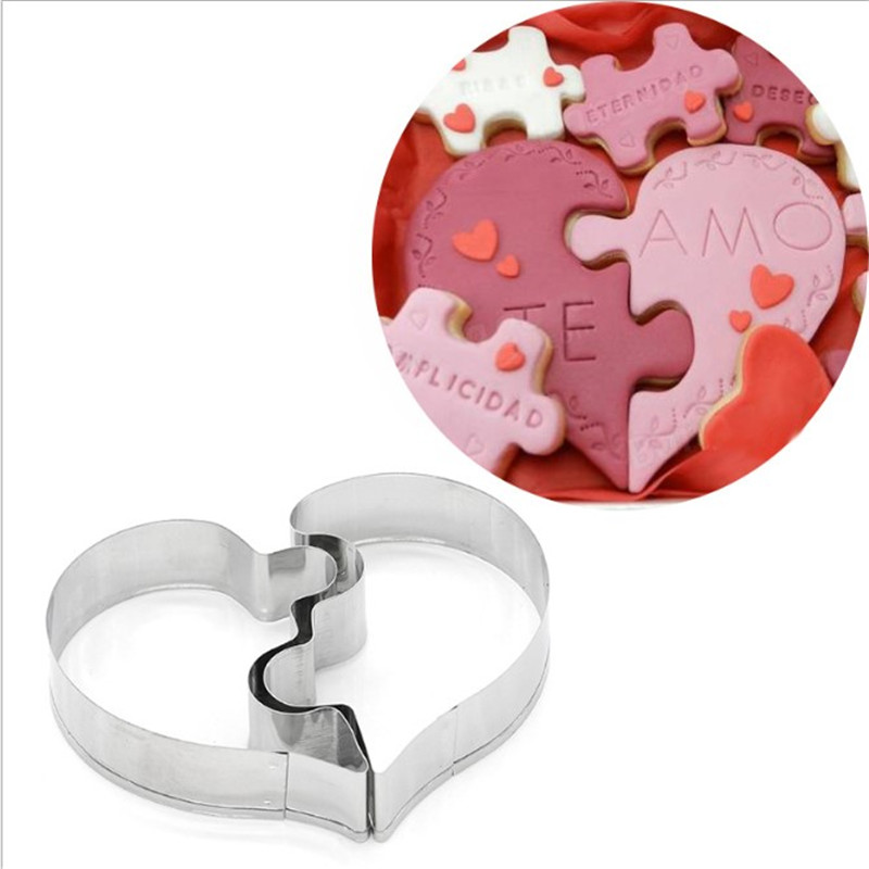 VOGVIGO Enigma do amor Cookie Cutter 3D Bakeware cozinha, refeitório Ferramentas Fondant Wedding aço inoxidável Bar de decoração do bolo DIY pastelaria do biscoito