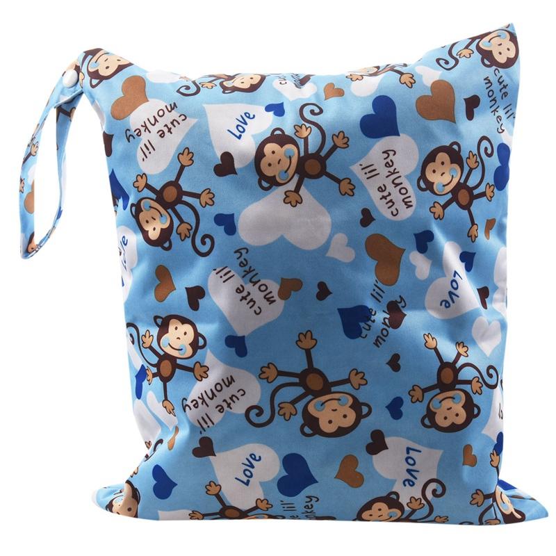 tissu imperméable bébé Sac à langer Ceinture fixe Couches Toilette formation réutilisable couche lavable double zip modèle de singe sac fermeture bleu