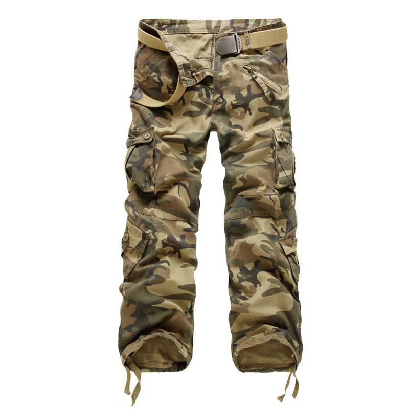 Pantaloni Uomo carico degli uomini di nuova marca di uomini ClothingStraight pantaloni pantaloni casual da uomo in cotone Camouflage multitasche lunghe Camo Lavato T