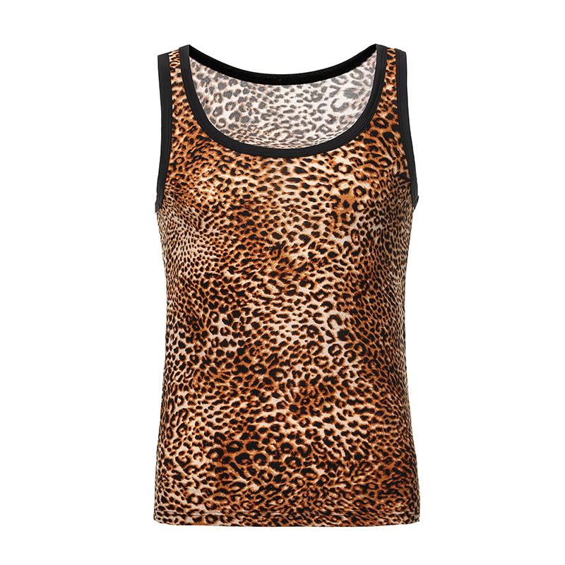 Hommes Undershirt Oneck été imprimé léopard Tops respirante réservoir Homme Tight Sous-vêtements Sous-vêtements homme sexy Fitting Tanks Gilet sans manches