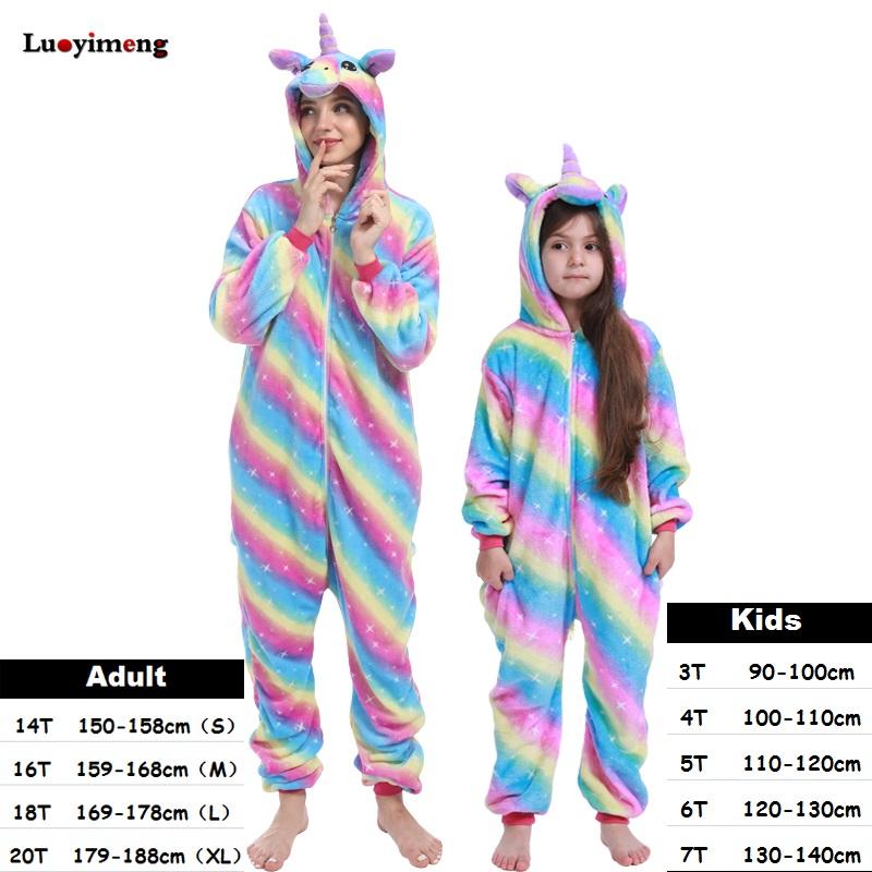 Boys Girls Sets Kigurumi Rabbit Unicorn Pajamas For Women Pijimas Pajamas Baby & Kids Clothing Cat Onesie Adults Animal Sleepwear Winter Pyj