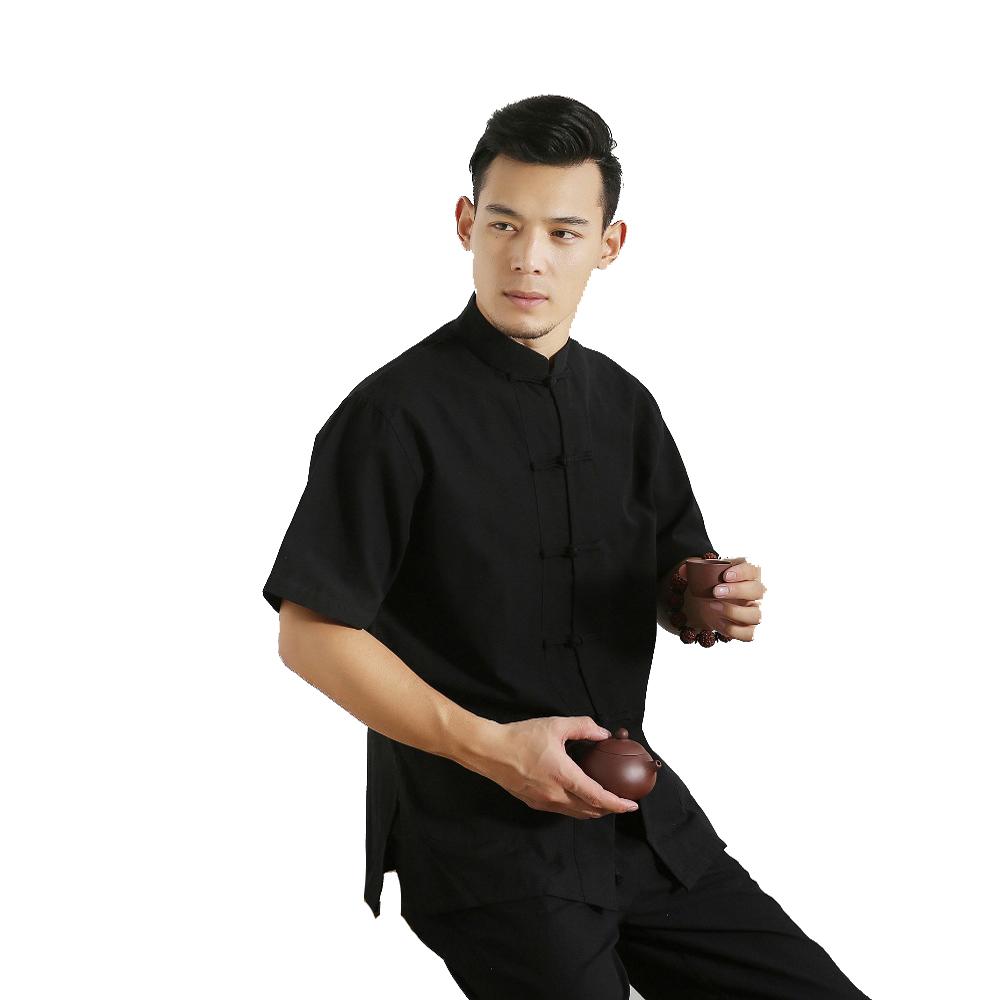 Mens 100 coton à manches courtes Tang Suit Top Male Kung Fu Tai Chi Chemises hommes Vêtements pour hommes Chemise uniforme Chemisier traditionnelle chinoise Clothin