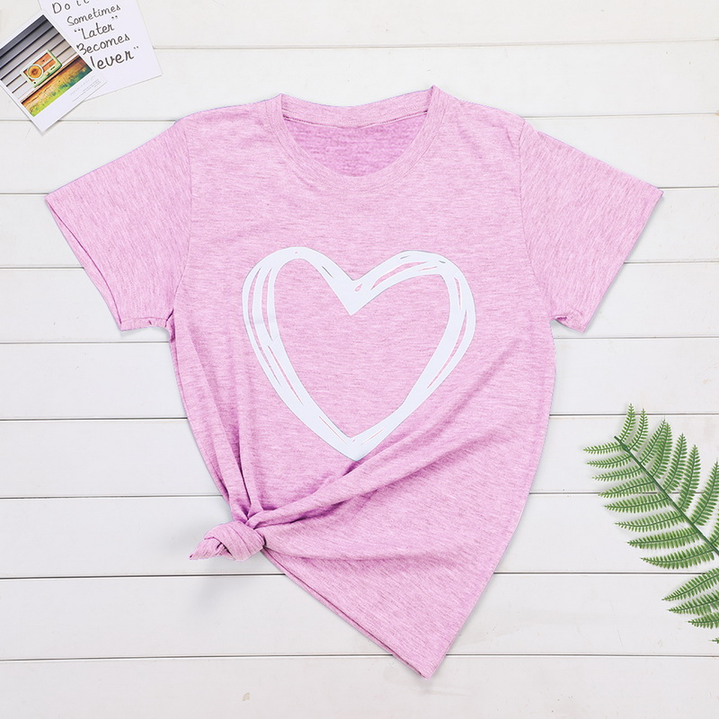 2020 Plus Размер 6XL 7XL 8XL лета женщин Сердце печати Tops Casual Tshirt Lady женский тройники Женская одежда с коротким рукавом Oneck Свободные топы Te