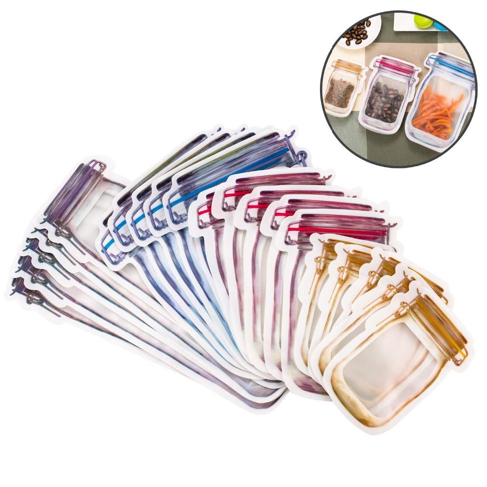 LMETJMA Wiederverwendbare Mason Jar Home Storage Organisation Housekeeping Organisation Tragbare Mason Jar Zipper Seal Lebensmittel-Retter-Speicher-Beutel Sn