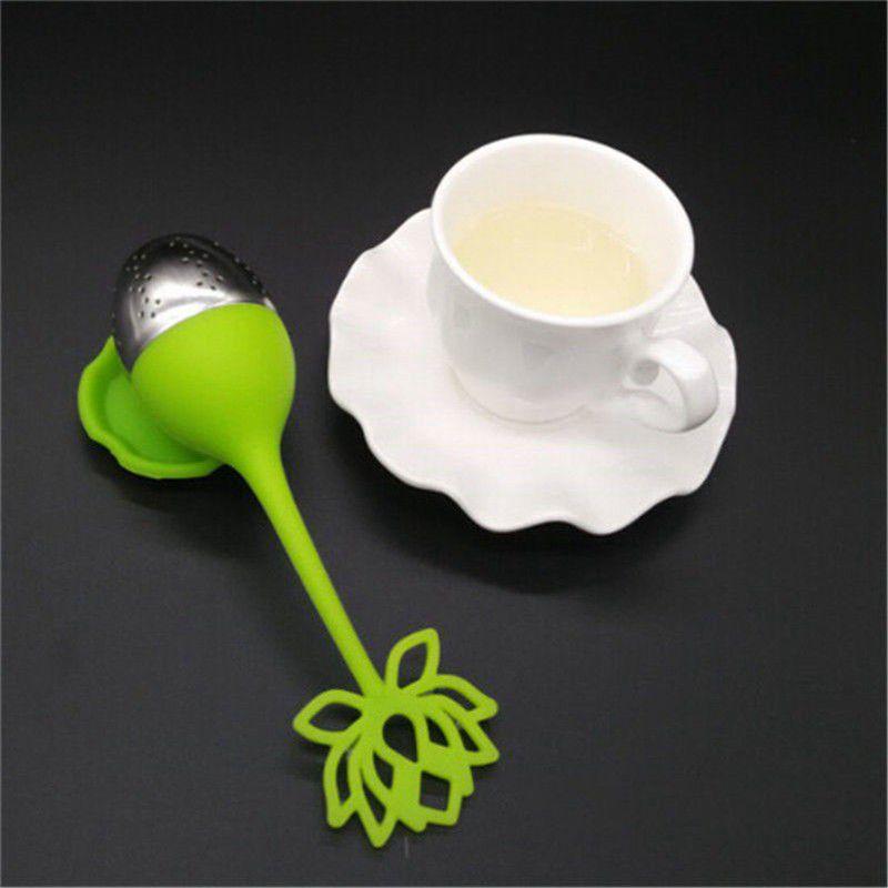 1pcs Silikon Lotusware Küche, Esszimmer Bar Shaped Edelstahl Teesieb Teelöffel ungeheftetes Herb Sieb-Filter