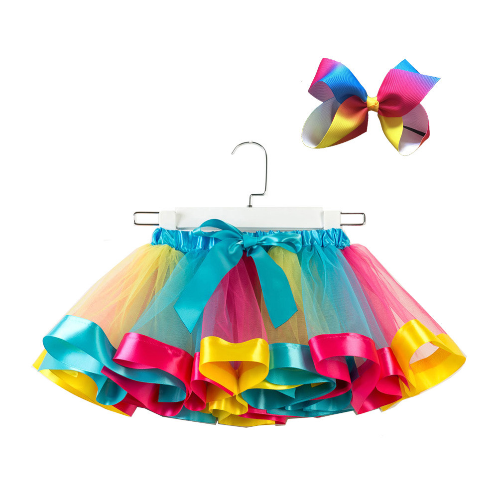Rainbows Skorts Kinderkleidung Tutu-Rock-Mädchen-Kind-Partei-Tanz-Ballett-Kleinkind-Baby-Kostüm Rock + Bow Nette Hairpin Set-Kind-Baby Gir