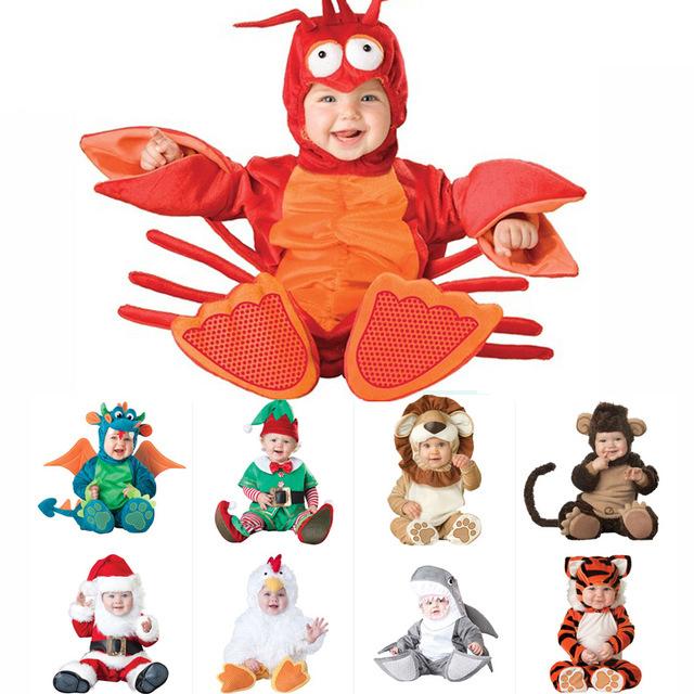 2020 Halloween Costume do presente do dia de Natal Carnaval bebê JumpsuitsRompers Bebê Kids Clothing Rompers Animal para Crianças pirata Dinossauro de Santa