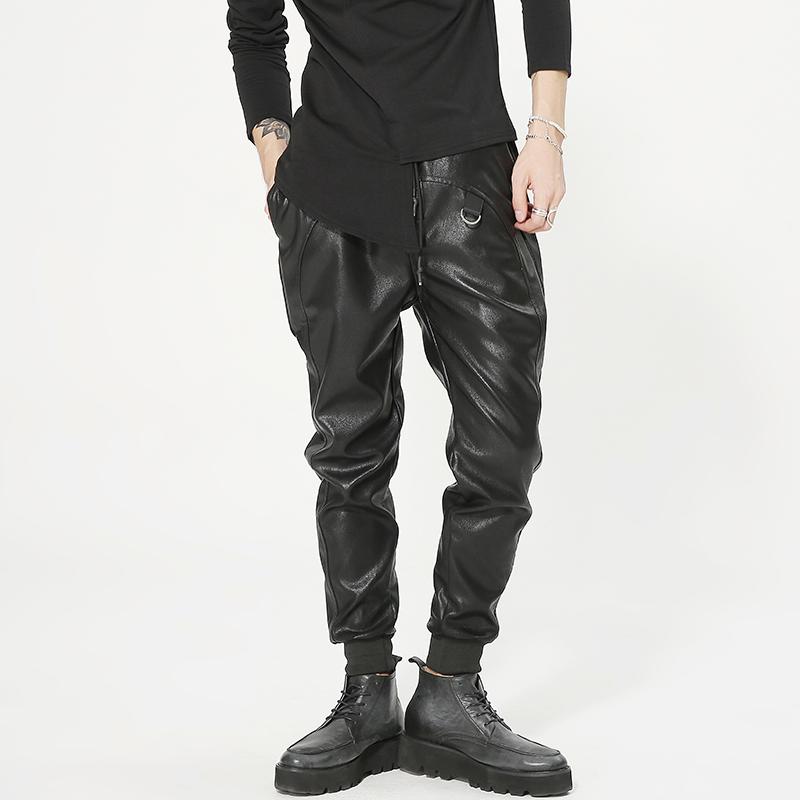 2018 Erkekler giyim GD Saç Stilist moda eğlence Hip Hop serseri Erkek Pantolon Erkek Giyim deri harem pantolon büyük beden kıyafetleri lokomotifler