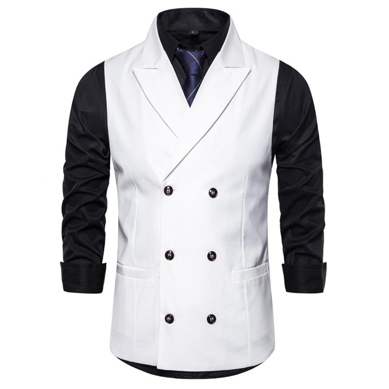 Moda Doppio Petto Bianco Moncler Uomo 2020 Abbigliamento Uomo sposa sposo Tuxed cappotti Capispalla New Spring Peak risvolto vestito Gilet
