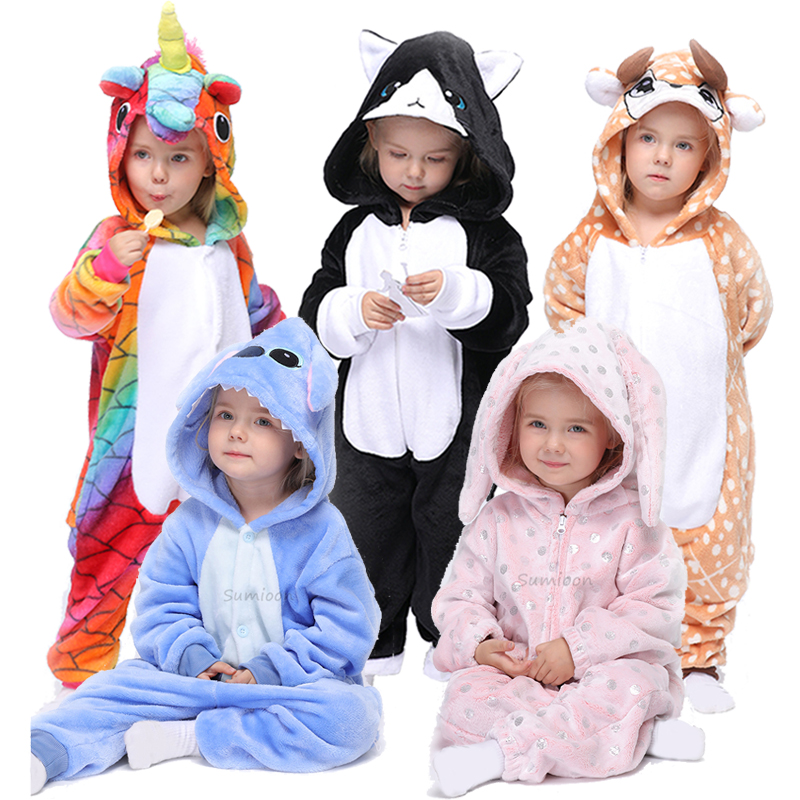 Kigurumi Pajama Rabbit Onesie For Children Animal Unicorn Sleepwear Pyjamas Kids Blankets & Swaddling Nursery Bedding Boys Girls Jumpsuit Wi