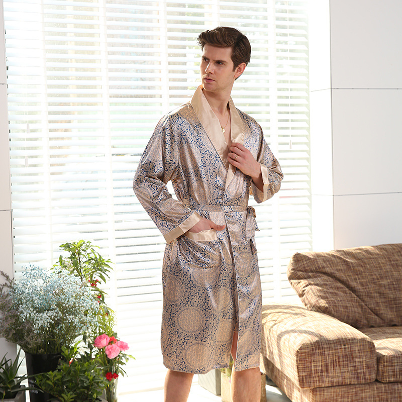 Gold Men Satin Robe Full Sleeve Sleepwear Long Gentle Print Nightwear Kimono Bathrobe Home Dressing Gown Men's Underwear Underwear Oversize