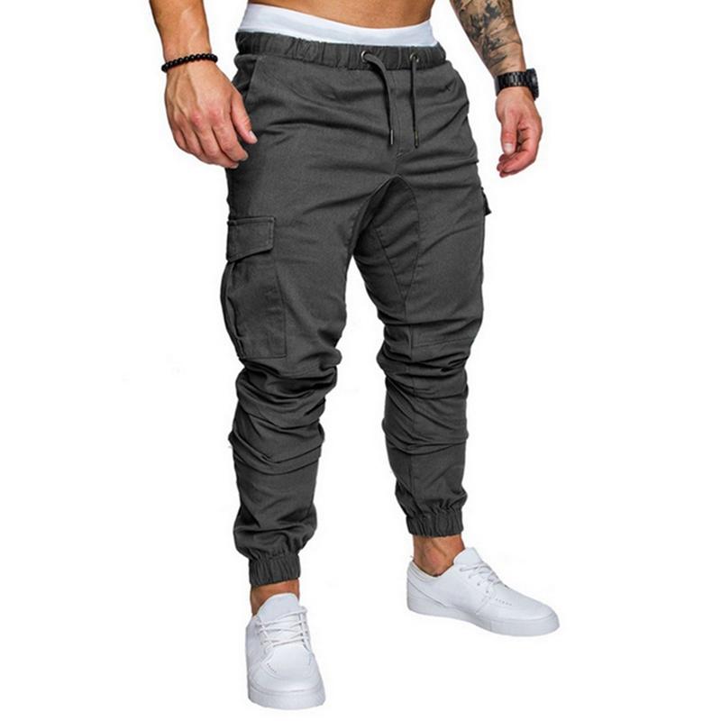 LAAMEI 2019 otoño del resorte de los hombres ocasionales de los pantalones de cordón elástico de la cintura del pantalón de carga sólidos pantalones de hombre Ropa de pantalón bolsillo lateral H