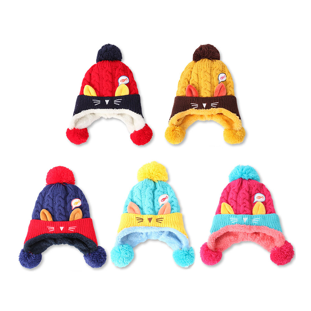 Winter Hat Hats & Caps Hats, Scarves & Gloves Warm Infant Beanie Cap Crochet Knitted Hats with 3 Pompons Animal Cat Ear Kids Cute Knit Croch