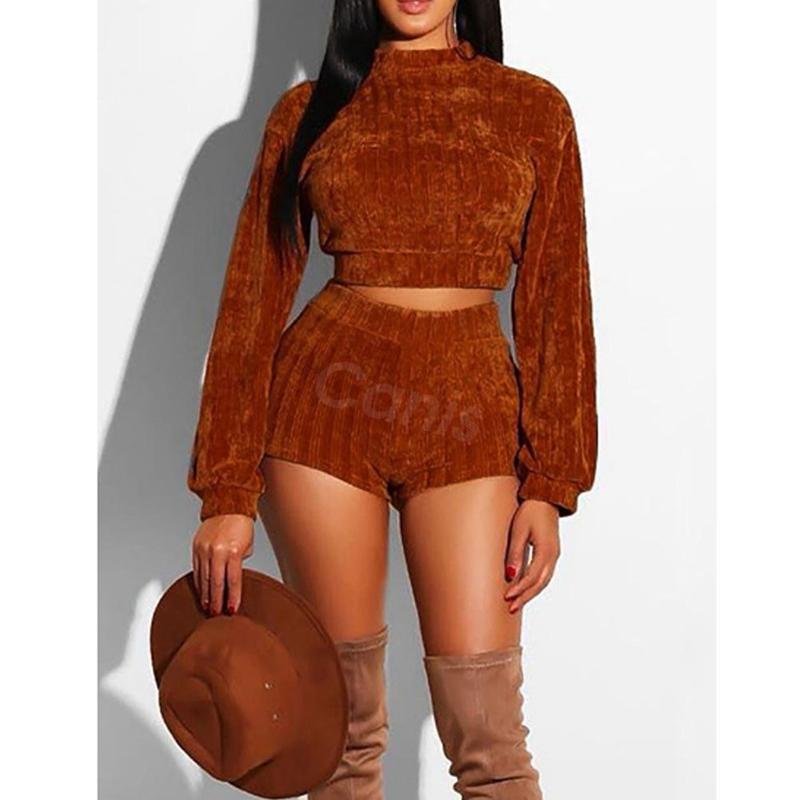 hirigin Two Piece Stylish Women Long Sleeve Velvet Crop Top Bandage Shorts Set Outfits High Street Clothes SXL