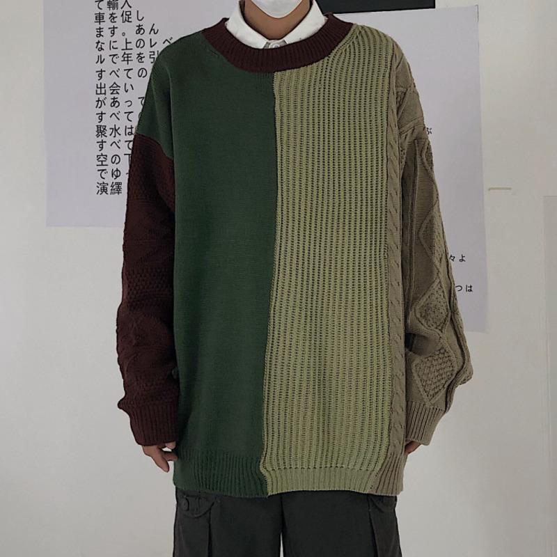 Inverno spesso maglione uomini Caldo moda di contrasto di colore casuale degli uomini Abbigliamento Knit Pullover Uomini selvaggio allentato Knitting Maglioni Mal Maglioni uomo