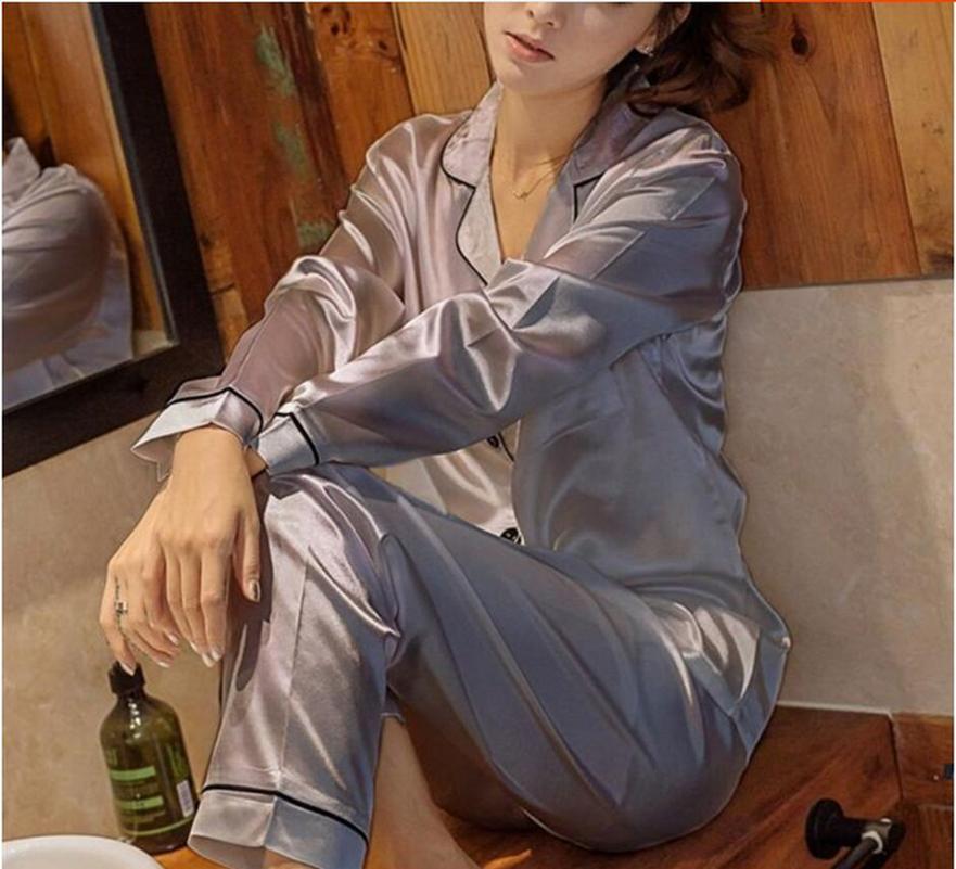 Womens de cetim de seda Pijamas Pijamas Set Long Sleeve Pijamas Pijama Pijama Suit das Mulheres Underwear Lingerie Feminino sono Two Piece Set Loung