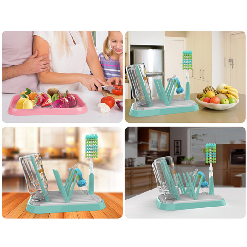 Baby Bottle Clean Foldable Drying Rack Water Collect Child Toddler Stand 10 Footholds Infant Pacifier Nipple Groove Drier T0708 Bottle Warme