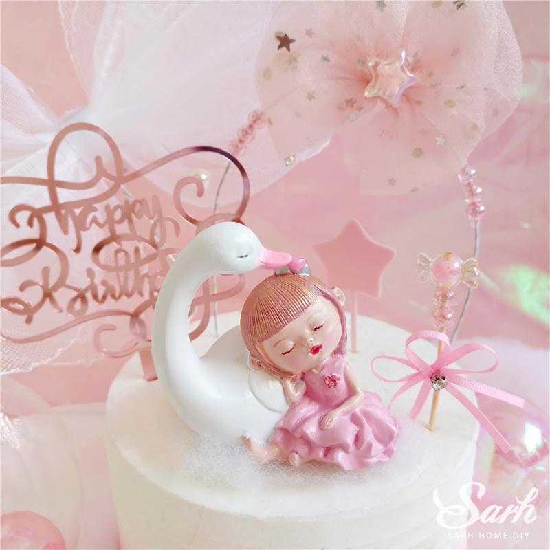 Bling Sleeping Girl decorazione della perla evento festivo per feste Giorno Stella Mesh Bow Cake Toppers bambini felici di compleanno per il partito di Sup