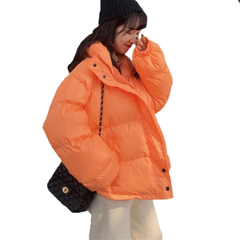 Parlak Renkler Kış Ceket Kadınlar Parka Sıcak Kalın Katı Kısa Stil Pamuk yastıklı Kabanlar Palto Kadın Giyim Parkas Coat Lo