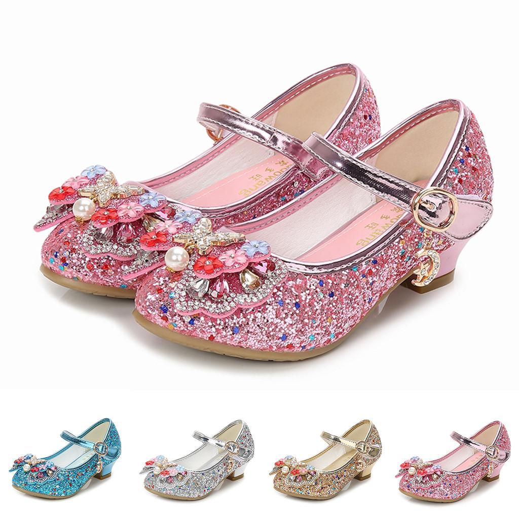 Girls High Heel in pelle perla Glisten principessa Children paillettes brevetto Bambini Sandali scarpe da ballo scarpe da festa di nozze di cristallo lucido