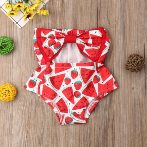 2.019 recém-nascido Red Romper JumpsuitsRompers Bebê Kids Clothing Baby Girl Melancia Tubo Top bowknot Romper Macacão roupa do verão da criança